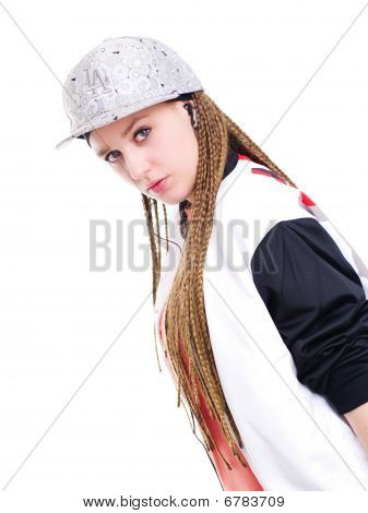 Teen Girl Listening Music By Headphones Over White Background