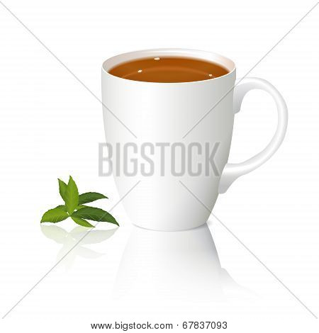 White Cup Of Tea And Leaves