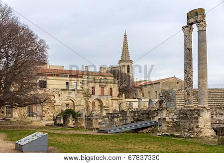 Ruins Of Roman Theatre In Arles - France