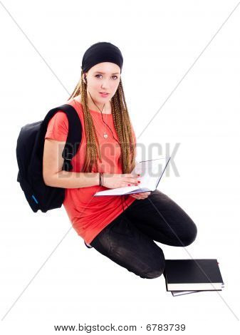 Teenager Student Reading Book Over White Background
