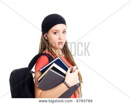 Teenager Student Holding Backpack And Books Over White Background