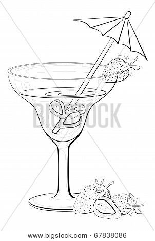 Glass with drink and strawberries contours