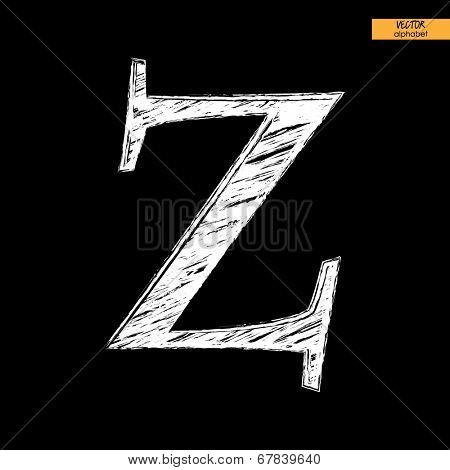 art simple classical alphabet in vector, chalk white handmade font on black back, letter Z