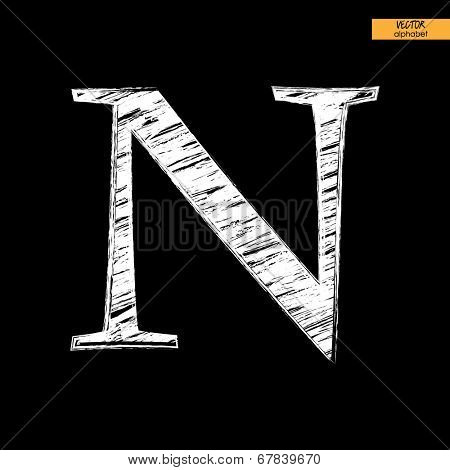 art simple classical alphabet in vector, chalk white handmade font on black back, letter N