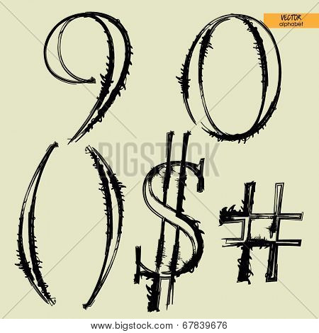 art simple classical alphabet in vector, silhouette black grunge handmade font, figures 9,0 and  number, $ and brackets marks