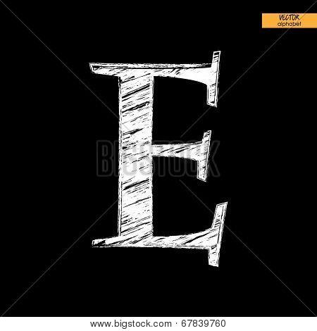 art simple classical alphabet in vector, chalk white handmade font on black back, letter E