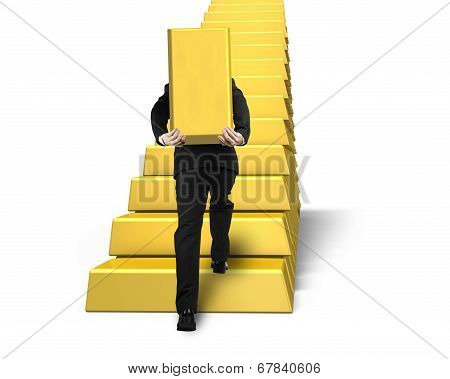 Carrying Bullion Climbing On Gold Stairs