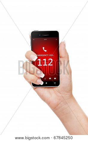 Hand Holding Mobile Phone With Emergency Number 112