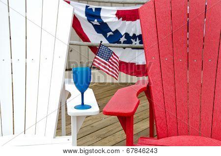 patriotic drink on armrest