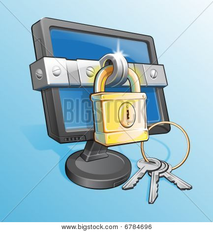 Locked Monitor With Padlock