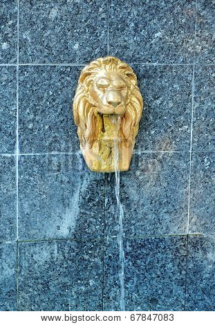 Lion sculpture water fountain