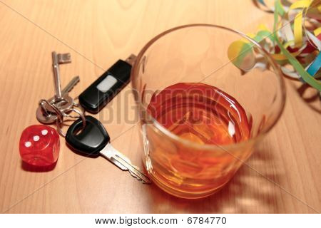 Whiskey Glass Dice And Keys