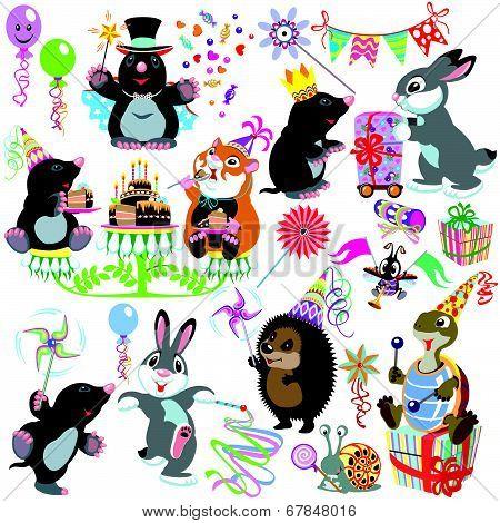 cartoon set with birthday party of mole