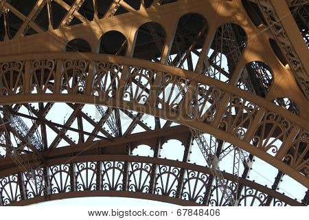 Detail Of The Ironwork Of The Eiffel Tower In Paris, France