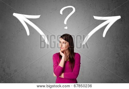 Pretty young woman making a decision with arrows and question mark above her head