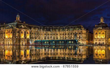 Tram On Place De La Bourse In Bordeaux - France