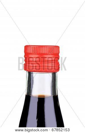 Balsamic vinegar bottle closeup.