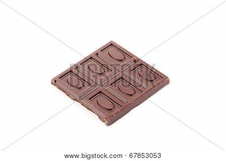 Broken dark chocolate bar.