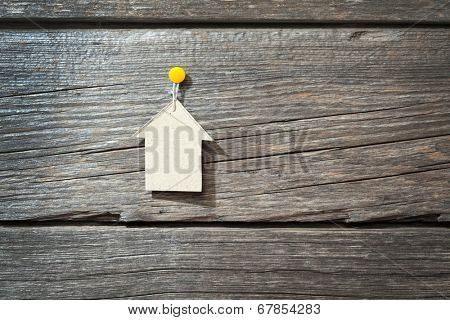 white house on wooden background