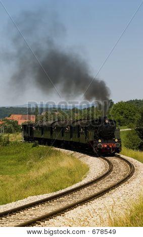 Steam Train On Open Track