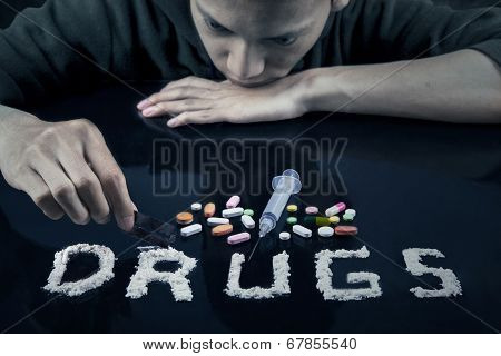 Drugs User Preparing Drugs To Used