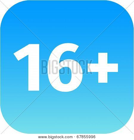 Restriction On Age 16+ - Blue And White Icon