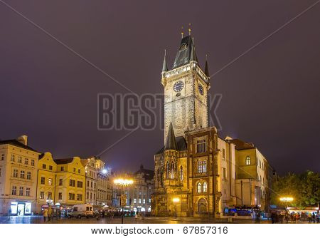 Prague Town Hall On Spring Night - Cheque