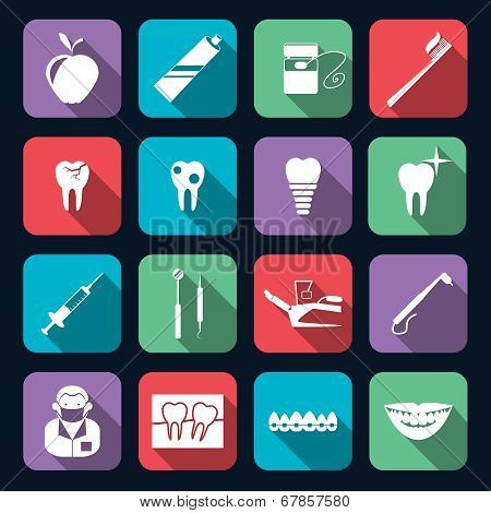 Dental Icons Flat