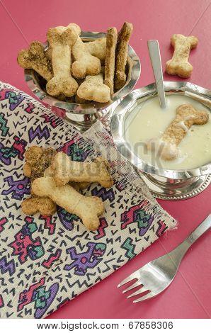 Bone Sugar Cookies And Condensed Milk, Selective Focus