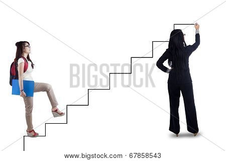 Female Student Follows The Stair Guide