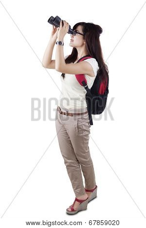 Female Student Using Binocular