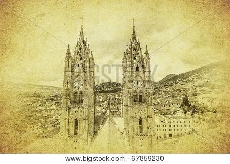 Vintage Image Of Basilica Del Voto Nacional, Quito, Ecuador