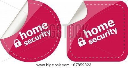 Home Security With Lock On Black Stickers Set