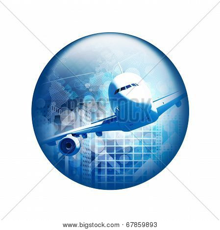 Airplane with skyscrapers. Spherical glossy button