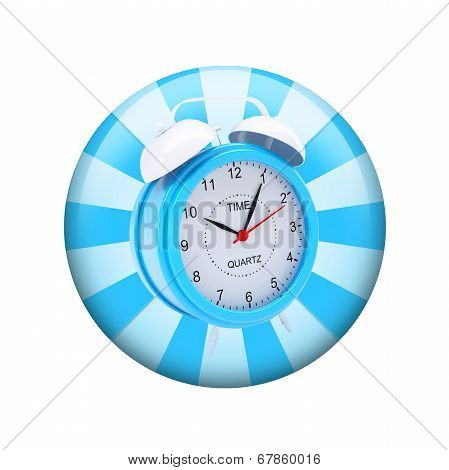 Alarm clock. Spherical glossy button