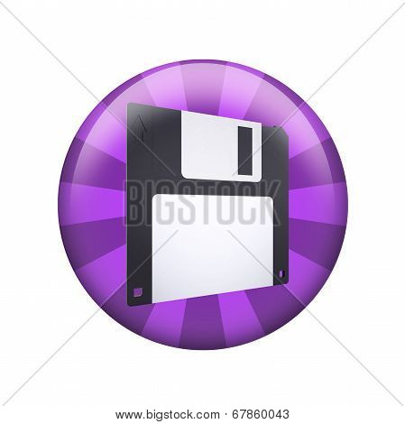 Floppy disk. Spherical glossy button