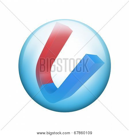 Red and blue magnet. Spherical glossy button