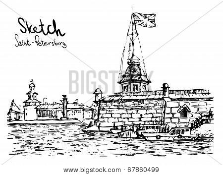 Hand Drawn Vector Illustratoin Of St. Petersburg. Sketch