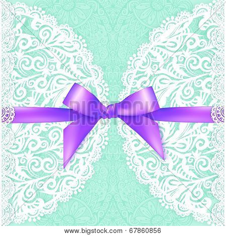 Light green lacy vector wedding card template