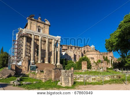 Temple Of Antoninus And Faustina In Roman Forum, Italy