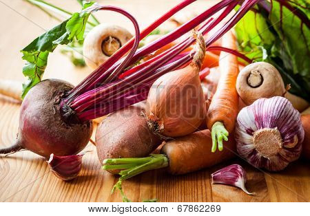 Assorted types of root vegetables