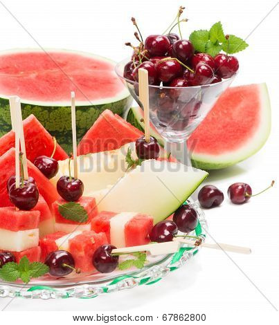 Glass Dish With Mixed Fruit Salad And Cherry