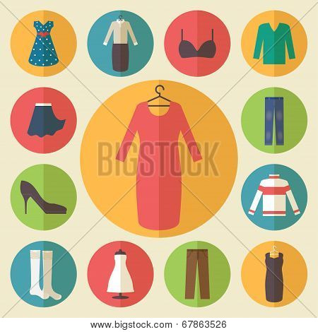 Woman clothing vector icons set