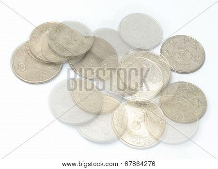 Saudi Metal coins and transparent coins