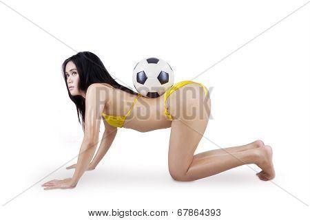 Sexy Woman In Bikini And Soccer Ball