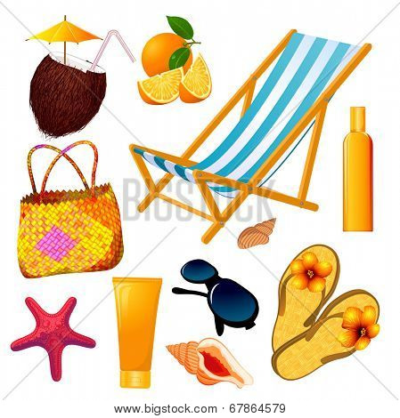 Summer beach vector design elements set.