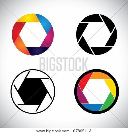Camera Lens Shutter Aperture Abstract Icons - Vector Graphic