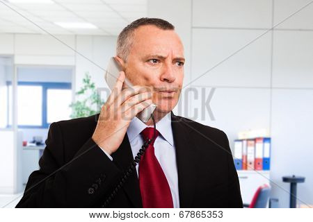 Portrait of a puzzled businessman talking on the phone