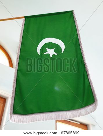 IslamicTurkish flag in mosque