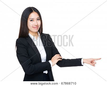 Business woman with finger point aside